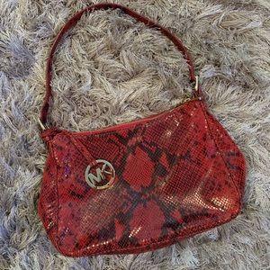 Michael Kors Red/Black Snake Print Shoulder Bag